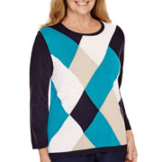 Alfred Dunner® 3/4-Sleeve Argyle Sweater