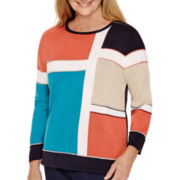 Alfred Dunner® 3/4-Sleeve Colorblock Sweater