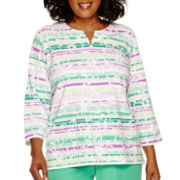 Alfred Dunner® Always In Style 3/4-Sleeve Biadere Top - Plus