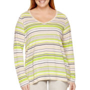 Liz Claiborne® Long-Sleeve V-Neck Striped High-Low Tunic - Plus
