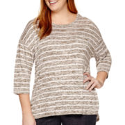 Liz Claiborne® 3/4-Sleeve Striped Knit Top - Plus