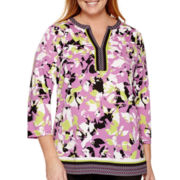 Liz Claiborne® 3/4-Sleeve Border Print Tunic - Plus