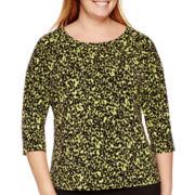 Liz Claiborne® 3/4-Sleeve Pleat-Neck Keyhole Top - Plus