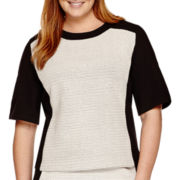Liz Claiborne® Elbow-Sleeve Textured Top - Plus