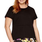 Liz Claiborne® Short-Sleeve High-Low Peplum Top - Plus