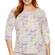 Liz Claiborne® 3/4-Sleeve Pleat-Neck Keyhole Top - Plus