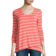Stylus™ Long-Sleeve Asymmetrical Stripe T-Shirt