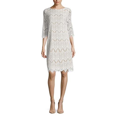 Ronni Nicole 3/4 Sleeve Lace Shift Dress