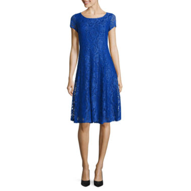 jcpenney.com | Perceptions Short Sleeve Lace Fit & Flare Dress