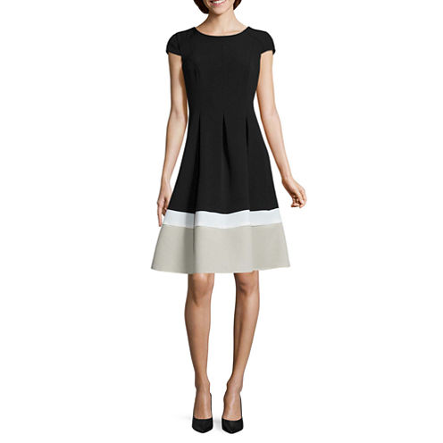 Alyx Cap Sleeve Colorblock Fit N Flare Dress