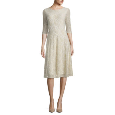 jcpenney.com | Melrose 3/4 Sleeve Lace Fit & Flare Dress