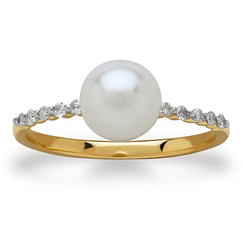 Sofia Womens 1/10 CT. T.W. White Pearl 10K Gold Cocktail Ring