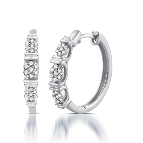 1/5 CT. T.W. White Diamond 10K Gold Hoop Earrings