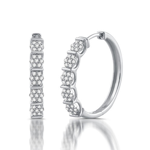 1/2 CT. T.W. White Diamond 10K Gold Hoop Earrings