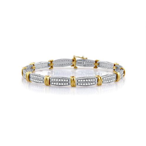 Womens 7.5 Inch White Diamond 10K Gold Link Bracelet