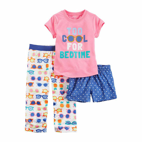 "Carter'S Girls 3Pc Poly Sleep ""Too Cool Sunglasses"" Short Set"