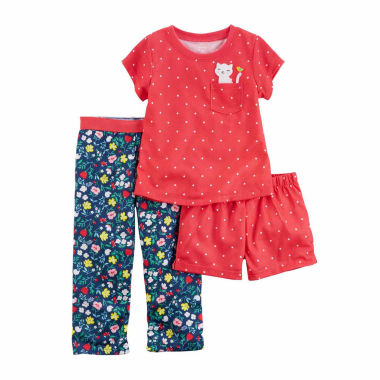 jcpenney.com | Carter'S Girls 3Pc Poly Sleep Red Dot Navy Floral Short Set