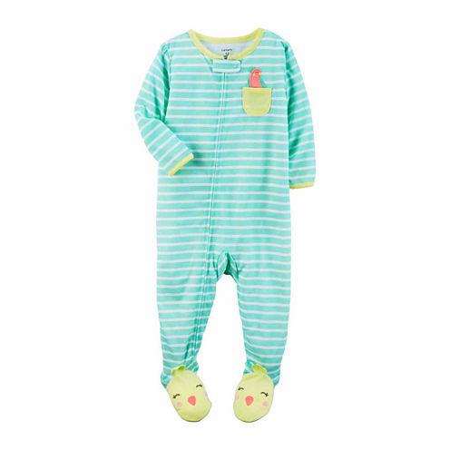 Carter'S Girls 1Pc Mint Stripe Pocket Bird Foot Pajama-Toddler