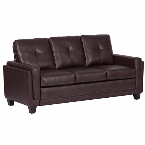 Home Meridian Faux Leather Track-Arm Sofa