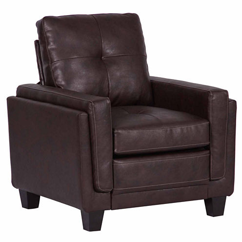 Home Meridian Faux Leather Club Chair
