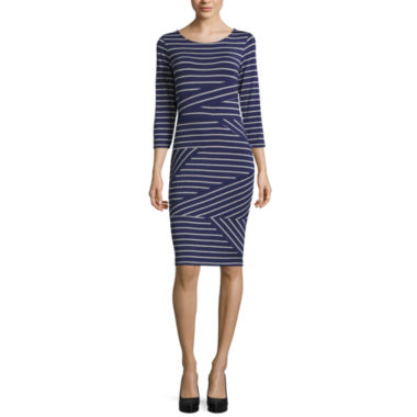 jcpenney.com | Belle + Sky 3/4 Sleeve Stripe Bodycon Dress