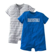 Carter's® 2-pk. Henley Striped and Screenprint Rompers Set - Boys newborn-24m