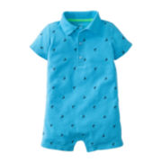 Carter's® Shark Print Polo Romper - Boys newborn-24m