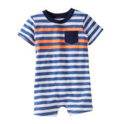 Carter's® Blue Jersey Striped Romper - Boys newborn-24m