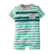 Carter's® Green Jersey Striped Romper - Boys newborn-24m