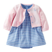 Carter's® 2-pc. Striped Dress and Cardigan Set - Girls newborn-24m