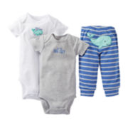 Carter's® 3-pc. Smiling Whale Bodysuit Set - Boys newborn-24m