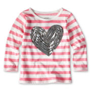 Joe Fresh™ Striped Sequin Tee - Girls 1t-5t