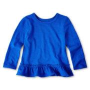 Okie Dokie® Long-Sleeve Ruffled-Hem Tee - Girls 12m-6y