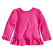 Okie Dokie® Long-Sleeve Ruffled-Hem Tee - Girls 12m-6y