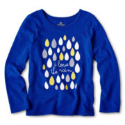 Okie Dokie® Long-Sleeve Graphic Top ‐ Girls 12m-6y