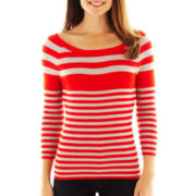 Liz Claiborne 3/4-Sleeve Striped Ribbed Sweater