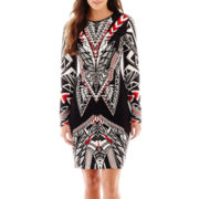 Bisou Bisou® Long-Sleeve Graphic Print Dress