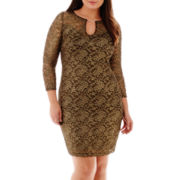 Bisou Bisou® Long-Sleeve Metallic Lace Dress - Plus