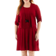 Perceptions 3/4-Sleeve Belted Ribbed-Knit Jacket Dress - Plus