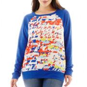 jcp™ Long-Sleeve Mixed Media Sweatshirt - Plus