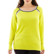 jcp™ Long-Sleeve Tipped Crewneck Sweater - Plus