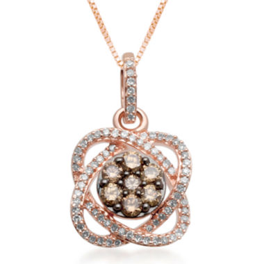 jcpenney.com | 1/3 CT. T.W. Champagne & White Diamond 10K Rose Gold Flower Pendant Necklace