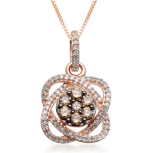 1/3 CT. T.W. Champagne & White Diamond 10K Rose Gold Flower Pendant Necklace