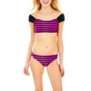 Arizona Striped Swim Crop Top or Hipster Bottoms - Juniors