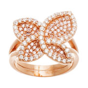 Cubic Zirconia Rose Gold Over Brass Butterfly Ring