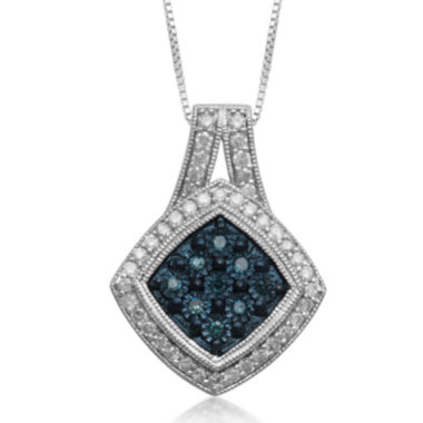 jcpenney.com | 1/2 CT. T.W. White & Color-Enhanced Blue Diamond Cluster Sterling Silver Pendant Necklace