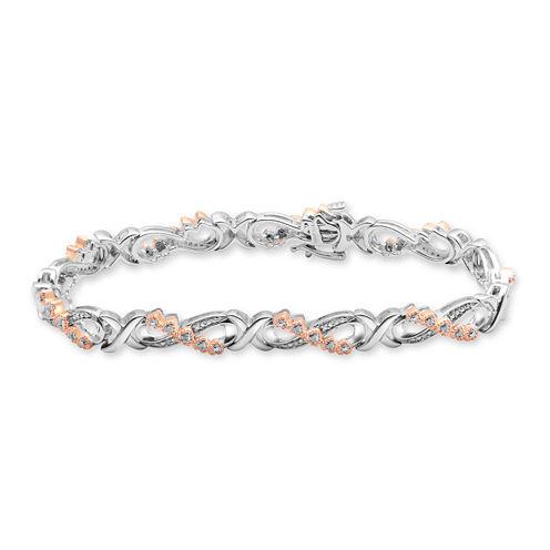 Falling For You 1/10 CT. T.W. Diamond Two-Tone Heart Bracelet