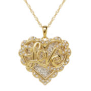 Crystal-Accent 14K Gold Over Silver Love Heart Pendant Necklace