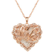 Crystal-Accent 14K Rose Gold Over Silver Love Heart Pendant Necklace