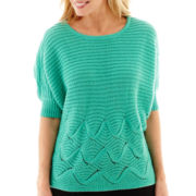 Worthington® Elbow-Sleeve Mixed-Stitch Sweater